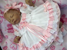 DREAM 0-5 years BABY GIRL WHTE PINK GINGHAM FRILLY  LINED DRESS HEADBAND