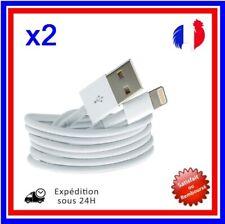 CÂBLE CORDON CHARGEUR USB IPHONE 5 5S 5C 6 6+ iOS7 iOS8 IPOD (LOT DE 2)