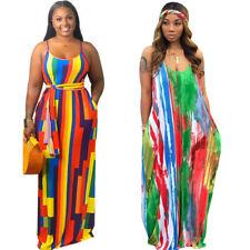 Fashion Wmen Spaghetti Strap Sleeveless Loose Style Colorful Print Casual Dress