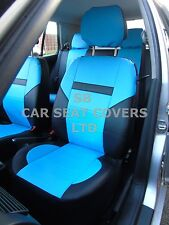i - TO FIT A NISSAN NAVARA CAR, SEAT COVERS, LEATHERETTE, SKYBLUE / BLACK 59.99