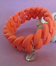 Marc by Marc Jacobs Silicone Rubber Chain Bracelet w Charm Orange