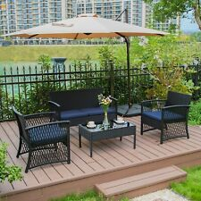 4PC Furniture Wicker Rattan Patio Outdoor Conversation Sofa Garden Cushion Table