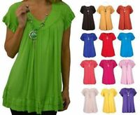 Women Gypsy Frill Necklace Tunic Short Sleeve Long V Neck Ladies Plus Size Tops