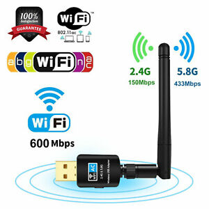 Mini 600Mbps Dual Band 2.4/5Ghz USB Wifi Adapter Antenna 802.11 Wireless Dongle