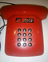 Vintage 1980s Desk Telephone Retro Red Black Corded Phone Korea