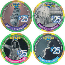 SET OF 4 TROPICANA HALL OF FAME CATEGORY LAS VEGAS CASINO CHIPS - FREE SHIPPING