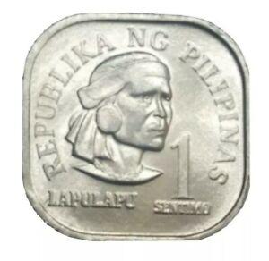 1975 PHILIPPINES PHILIPINAS 1 CENTIMO UNC SQUARE SHAPE ALUMINUM COIN VINTAGE