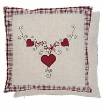"""TARTAN CHECK HEART EMBROIDERED LINEN BLEND RED BEIGE CUSHION COVER 16"""" - 40CM"""