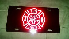 Maltese cross fire fighter department black reflective red license plate car tag