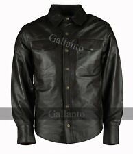 Full Long Sleeve Biker Motorcyle Brown Soft Sheep Leather Shirt