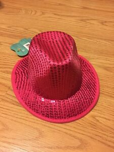 Western Cowgirl Hat Pink Sequin Glitter Fedora  puppy/dog med/large