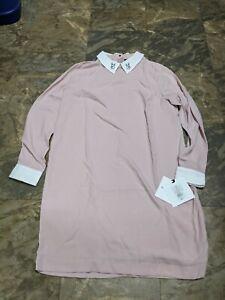 Victoria Beckham Blush Pink Collared Dress-Rabbit Collar XL