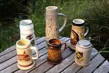 Konvolut alter Bierkrüge 6 Stk. Keramik Steingut glasiert seltene Sammlerstücke