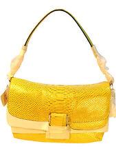 NWT Coach 23430 Madison Pinnacle Yellow Metallic Python Flap Satchel MSRP $698