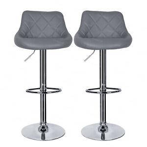 2 x Pub Chair Modern Leather Breakfast Kitchen Bar Stools