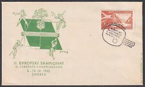 Yugoslavia 1960-04-03, Croatia, Zagreb, Table Tennis, special postmark & cover
