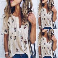 Vintage Women V Neck Floral Printed Short Sleeve Loose Top Blouse T Shirt EW