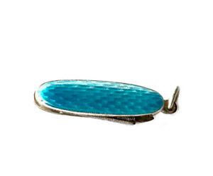 Antique silver Turquoise enamel Miniature Nail File Pendant Fob CHARM GIFT BOXED