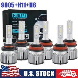 For Honda Accord 2013-2015 6X 9005 H11 LED Headlight & H8 Fog Lights Combo Bulbs