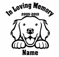 In Loving Memory  Golden Retriever  Peeking with Name car window decal