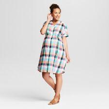 df7df1a6b4513 Ingrid & Isabel Womens Plaid Dolman Maternity Tie Waist Shirt Dress New w/  Tags