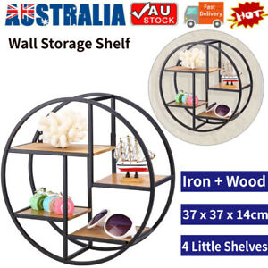 Wood Iron Craft Round Metal Wall Shelf Display Rack Storage Home Decor Black SS