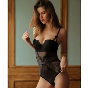 Bodysuits Push Up Bow Peacock Feather Hollow Out Padded Cup Underwired Lingerie
