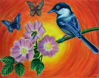 ORIGINAL INMATE ART COLORED PENCILS DRAWING BLUE BIRD FLOWERS BEE BUTTERFLIES