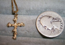 14K Yellow Gold Knobby Cross on box chain Rustic Primitive