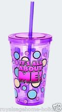 16136 It's All About Me! Insulated Travel Cup w/straw Pink Princess diva girly