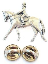 Dressage Equestrian Handcrafted in Solid Pewter In UK Lapel Pin Badge