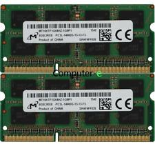 Micron 16GB KIT 2X 8GB PC3L-14900S DDR3-1866MHZ 1.35v SO-DIMM Laptop Memory RAM