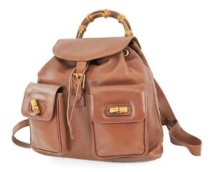 Authentic GUCCI Brown Leather and Bamboo Handle Backpack Bag #38172