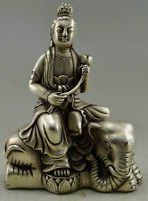 Collectible Decorated Chinese Tibetan silver Handwork Kwan-yin Elephant Statue