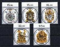 Bund 1631 - 1635 OR gestempelt zentrische Vollstempel Bonn ESST BRD Uhren 1992