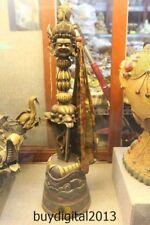 "23""  Tibet Bronze 24K Gold  Mahakala buddha Dorje Vajra Phurpa Dagger Talisman"