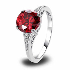 Womens Ladies 925 Sterling Silver Round Ruby Gemstone Dress Ring Size UK O½ to T