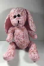 "Pink Puppy Dog Sitting St Fiore Floral Print Design Plush 14"" K & K Sales Toy"