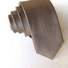 SJ015 SKINNY men 100% silk neck tie jacquard slim party ties solid coffee dots