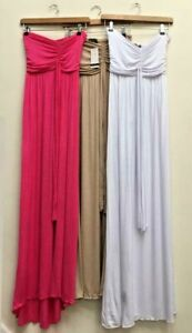 NEW PACK OF 3 BANDEAU MAXI DRESSES PINK/GREY/ WHITE ALL SIZE S/M UK 8/10 BNWT