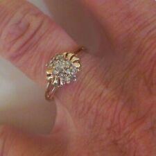 VTG 10K Yellow Gold Diamond Cluster Engagement Ring 2.2gr C C CO Coleman SZ 6.25