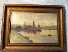 Antique Framed Dutch Oil Painting of Sailboats.