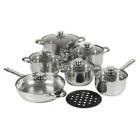 Berger 13pc Stainless Steel Cookware Set Saucepans Lid Cooking Food Frying Pans