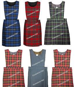 Girls Premium Quality UK Made Tartan Pinafore School Uniform Dress Red & Blue
