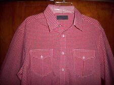 NWOT ~ DORSIA Men's Size L ~ Red & White Plaid Button Shirt Cowboy Striped Cuffs