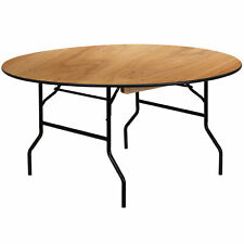 """Flash Furniture 60"""" Round Folding Banquet Table, Clear-Coated Wood"""
