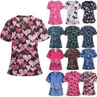 Men Women Medical Scrub Top Tunic Uniform Nurse Hospital Tops Medical Blouse UK