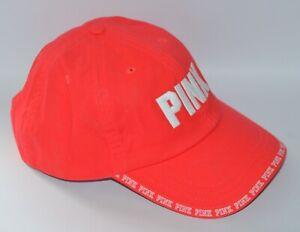 VICTORIA'S SECRET PINK LOGO NEON BRIGHT RED BASEBALL HAT CAP SPORTS ADJUSTABLE