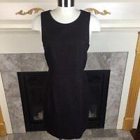 THEORY 10 Black Red Pinstripe Sleeveless Virgin Wool Back Zipper Sheath Dress
