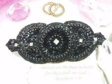 0391 ~ BLACK  RHINESTONE ~  SEQUIN BEADED APPLIQUE 5.5""